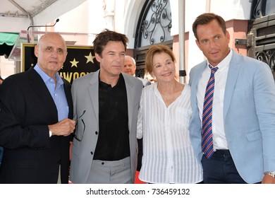 LOS ANGELES, CA - July 26, 2017: Jeffrey Tambor, Jason Bateman, Jessica Walter, Will Arnett at the Hollywood Walk of Fame Star Ceremony honoring actor Jason Bateman