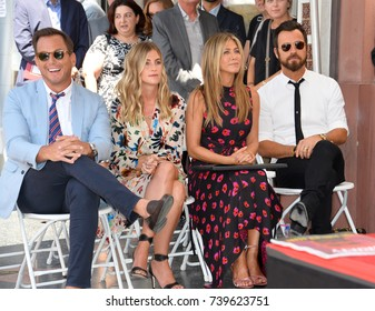 LOS ANGELES, CA. July 26, 2017: Will Arnett & girlfriend Elizabeth Law & actress Jennifer Aniston & husband Justin Theroux at the Hollywood Walk of Fame Star Ceremony honoring actor Jason Bateman.