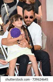 LOS ANGELES, CA. July 26, 2017: Actor Justin Theroux with Jason Bateman's daughter Maple Sylvie Bateman at the Hollywood Walk of Fame Star Ceremony honoring actor Jason Bateman.