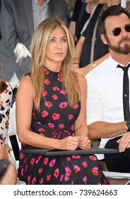 LOS ANGELES, CA. July 26, 2017: Actress Jennifer Aniston & husband actor Justin Theroux at the Hollywood Walk of Fame Star Ceremony honoring actor Jason Bateman.