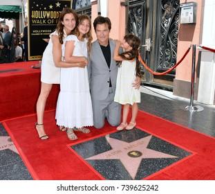 LOS ANGELES, CA. July 26, 2017: Actor Jason Bateman & wife Amanda Anka & daughters Francesca & Maple at the Hollywood Walk of Fame Star Ceremony honoring actor Jason Bateman.