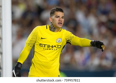 LOS ANGELES, CA - JULY 26: Ederson Moraes during the 2017 International Champions Cup game between Manchester City and Real Madrid on July 26th 2017 at the Los Angeles Memorial Coliseum.