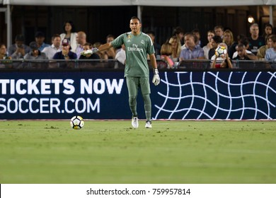LOS ANGELES, CA - JULY 26: Keylor Navas during the 2017 International Champions Cup game between Manchester City and Real Madrid on July 26th 2017 at the Los Angeles Memorial Coliseum.