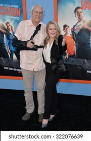 "LOS ANGELES, CA - JULY 27, 2015: Chevy Chase & Beverly D'Angelo at the premiere of their movie ""Vacation"" at the Regency Village Theatre, Westwood."