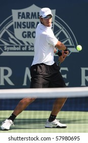 LOS ANGELES, CA. - JULY 27: Ilija Bozoljac of Serbia (pictured) and Robby Ginepri of USA play a match at the 2010 Farmers Classic on July 27 2010 in Los Angeles.