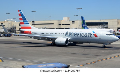 Los Angeles, CA - July 2nd, 2018: An American Airlines Boeing 737-823 Taxiing Away from the Ramp at Los Angeles International Airport