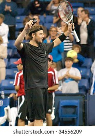 LOS ANGELES, CA. - JULY 30: Mardy Fish after his victory against  Chris Guccione at the L.A. Tennis Open July 30, 2009 in Los Angeles.