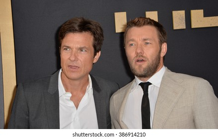 "LOS ANGELES, CA - JULY 30, 2015: Jason Bateman & Joel Edgerton (right) at the world premiere of their movie ""The Gift"" at the Regal Cinemas LA Live."