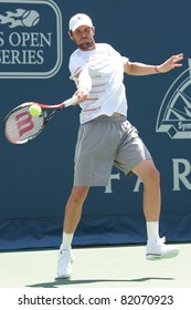 LOS ANGELES, CA. - JULY 31: No. 1 seed Mardy Fish (USA) in action during the 2011 Farmers Classic singles final on July 31 2011 in Los Angeles.