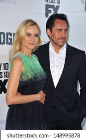 """LOS ANGELES, CA - JULY 8, 2013: Diane Kruger & Demian Bichir at the premiere for their new FX TV series """"The Bridge"""" at the Directors Guild Theatre, West Hollywood."""