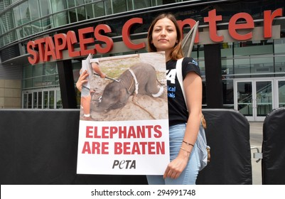 LOS ANGELES, CA â?? JULY 9, 2015: A protestor stands in front of the Staples Center in Los Angeles holding a sign protesting the treatment of elephants by Ringling Bros. Circus on July 9, 2015.