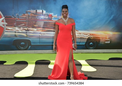 """LOS ANGELES, CA. July 9, 2016: Actress Leslie Jones at the Los Angeles premiere of """"Ghostbusters"""" at the TCL Chinese Theatre, Hollywood."""