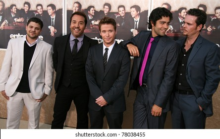 LOS ANGELES, CA - JULY 9: Entourage cast members show some brotherly love as the sixth Season Premiere kicks off on set of Paramount Pictures lot in Los Angeles, CA on July 9, 2009.