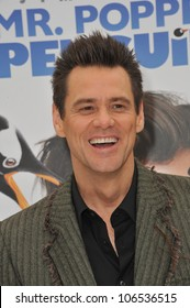 """LOS ANGELES, CA - JUNE 12, 2011: Jim Carrey at the premiere of """"Mr. Popper's Penguins"""" at Grauman's Chinese Theatre, Hollywood. June 12, 2011  Los Angeles, CA"""