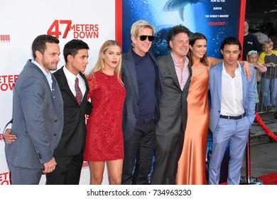 "LOS ANGELES, CA - June 12, 2017: Chris J. Johnson, Santiago Segura, Claire Holt, Matthew Modine, Johannes Roberts, Mandy Moore & Yani Gellman at the premiere for ""47 Meters Down"" in Westwood."