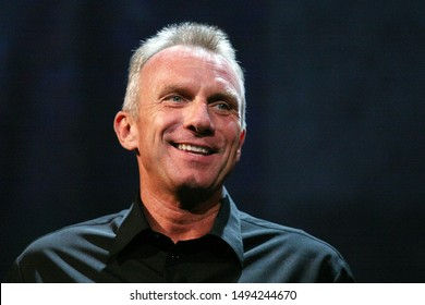 """Los Angeles, CA - June 14, 2010:Retired Hall of Fame NFL player Joe Montana speaks about EA Sport's football video game """"Madden NFL 11"""" during the Electronic Arts E3 2010 Press Conference."""