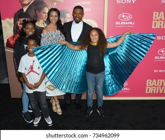 """LOS ANGELES, CA - June 14, 2017: Jaime Foxx & family at the Los Angeles premiere for """"Baby Driver"""" at the Ace Hotel Downtown."""