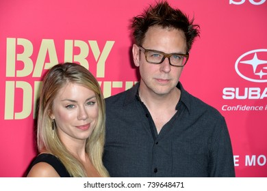"LOS ANGELES, CA. June 14, 2017: James Gunn & Jennifer Holland at the Los Angeles premiere for ""Baby Driver"" at the Ace Hotel Downtown."