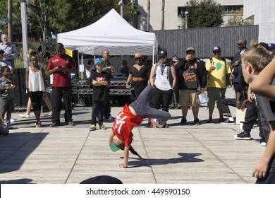 LOS ANGELES, CA - JUNE 19: kids dancing during Beat Swap Meet in Grand Park, Los Angeles on June 19, 2016.