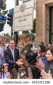LOS ANGELES, CA - JUNE 22, 2019: The unveiling of the Delores Huerta Square at the corner of  East 1st  Street and Chicago. Street in Boyle Heights.