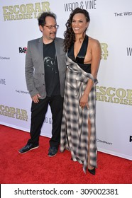 "LOS ANGELES, CA - JUNE 22, 2015: Actress Amber Dixon Brenner & husband editor David Brenner at the Los Angeles premiere of ""Escobar: Paradise Lost"" at the Arclight Theatre, Hollywood."