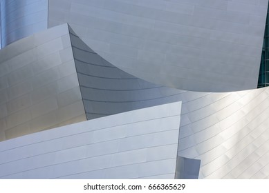 LOS ANGELES, CA - June 22, 2017: Walt Disney Concert Hall building detaill in June 22, 2017 in Downtown of Los Angeles, CA