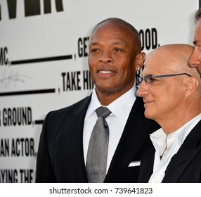 "LOS ANGELES, CA - JUNE 22, 2017: Dr. Dre & Jimmy Iovine at the premiere for the HBO documentary series ""The Defiant Ones"" at the Paramount Theatre. Los Angeles, USA"