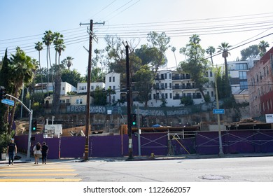 Los Angeles, CA: June 23, 2018: An empty lot in the Silverlake area of Los Angeles.  Los Angeles is the second largest city in the United States by population.