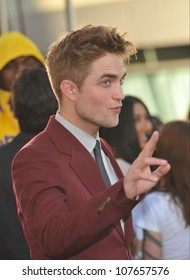 """LOS ANGELES, CA - JUNE 24, 2010: Robert Pattinson at the premiere of his new movie """"The Twilight Saga: Eclipse"""" at the Nokia Theatre at L.A. Live."""