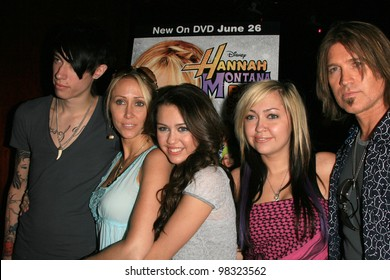 """LOS ANGELES, CA - JUNE 26: Miley Cyrus family at the Disney Channel free concert by Miley Cyrus to celebrate the DVD release of """"Hannah Montana: Pop Star Profile"""" in Los Angeles, CA on June 26, 2007"""