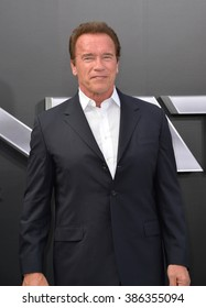 """LOS ANGELES, CA - JUNE 28, 2015: Arnold Schwarzenegger at the Los Angeles premiere of his movie """"Terminator Genisys"""" at the Dolby Theatre, Hollywood."""