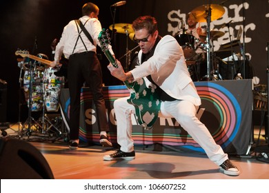 LOS ANGELES, CA - JUNE 29: Mark McGrath and Justin Bivona of Sugar Ray perform to a sold-out crowd at first annual Summerland tour at the Greek Theatre on June 29, 2012 in Los Angeles, CA.