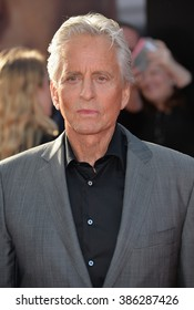 """LOS ANGELES, CA - JUNE 29, 2015: Actor Michael Douglas at the world premiere of his movie """"Ant-Man"""" at the Dolby Theatre, Hollywood."""