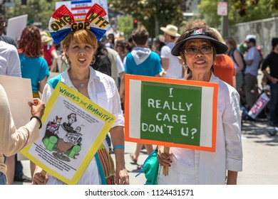 LOS ANGELES,  CA - JUNE 30, 2018:  Hundreds of Angelenos came together to protest Trump's policy on immigration.