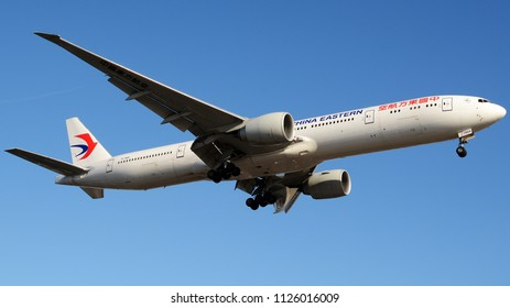 Los Angeles, CA - June 30th, 2018: A China Eastern Airlines Boeing 777-39P(ER) Landing at Los Angeles International Airport
