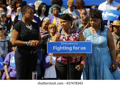 LOS ANGELES, CA - JUNE 6, 2016 -Sybrina Fulton (mother of Trayvon Martin), Gwen Carr (mother Eric Garner) and Wanda Johnson (mother Oscar Grant) campaign for Hillary Clinton Leimert Park Village Plaza