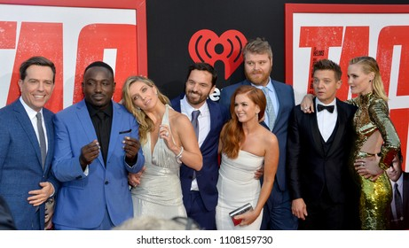 "LOS ANGELES, CA - June 7, 2018: Ed Helms, Hannibal Buress, Annabelle Wallis, Jake Johnson, Isla Fisher, Steve Berg, Jeremy Renner & Leslie Bibb at the world premiere for ""TAG"""