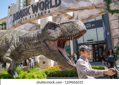 Los Angeles, CA: June 7, 2018:  Promotional Tyrannosaurus rex (T-rex) for the upcoming film Jurassic World: Fallen Kingdom, at The Grove shopping center. Jurassic World: Fallen Kingdom opens June 22.