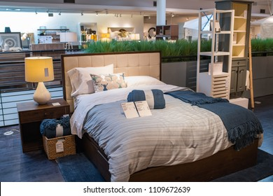 Los Angeles, CA: June 7, 2018:  Interior of a Crate & Barrel store.  Crate & Barrel is wholly owned by Otto GmbH, which is based in Germany and France. Crate and Barrel opened its doors in 1962.