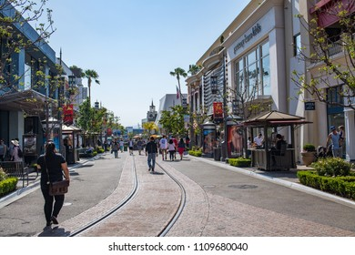 Los Angeles, CA: June 7, 2018:  Outdoors at The Grove shopping center in Los Angeles. The Grove opened to the public in 2002.