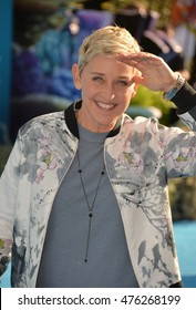 """LOS ANGELES, CA. June 8, 2016: Actress Ellen DeGeneres at the world premiere for """"Finding Dory"""" at the El Capitan Theatre, Hollywood."""