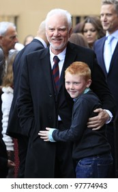 LOS ANGELES, CA - MAR 16: Malcolm McDowell, son Beckett at a ceremony where Malcolm McDowell is honored with a star on the Hollywood Walk of Fame on March 16, 2012 in Los Angeles, California