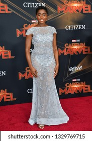 "LOS ANGELES, CA. March 04, 2019: Lashana Lynch at the world premiere of ""Captain Marvel"" at the El Capitan Theatre.