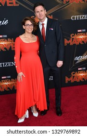 "LOS ANGELES, CA. March 04, 2019: Anna Boden & Ryan Fleck at the world premiere of ""Captain Marvel"" at the El Capitan Theatre.