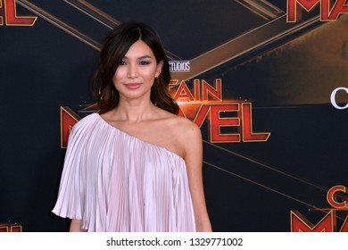 """LOS ANGELES, CA. March 04, 2019: Gemma Chan at the world premiere of """"Captain Marvel"""" at the El Capitan Theatre.Picture: Paul Smith/Featureflash"""