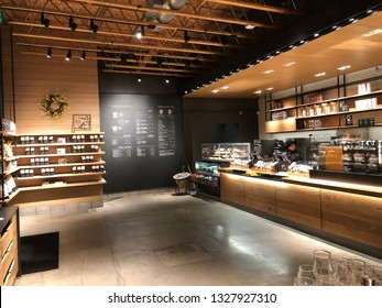 Los Angeles, Ca: March 1, 2019:   Starbucks Reserve store in the Los Angeles area. Starbucks has plans to open several hundred Starbucks Reserve stores in the world.