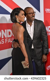 "LOS ANGELES, CA - MARCH 1, 2016: Actress Angela Bassett & husband Courtney B. Vance at the Los Angeles premiere of ""London Has Fallen"" at the Cinerama Dome, Hollywood."