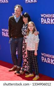"LOS ANGELES, CA. March 10, 2019: Constance Zimmer, Russ Lamoureux & Colette Zoe Lamoureux at the premiere of ""Wonder Park"" at the Regency Village Theatre.Picture: Paul Smith/Featureflash"