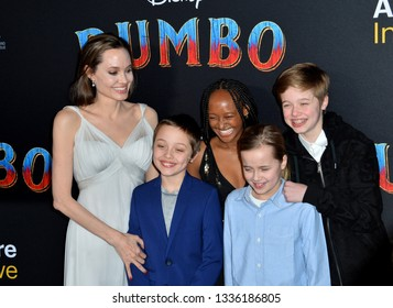 """LOS ANGELES, CA. March 11, 2019: Angelina Jolie & Family at the world premiere of """"Dumbo"""" at the El Capitan Theatre.Picture: Paul Smith/Featureflash"""