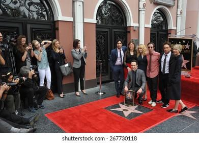 LOS ANGELES, CA - MARCH 11, 2015: Jim Parsons & Kunal Nayyar (left), Mayim Bialik, Melissa Rauch, Simon Helberg, Johnny Galecki & Kaley Cuoco-Sweeting at Parsons' Walk of Fame ceremony.